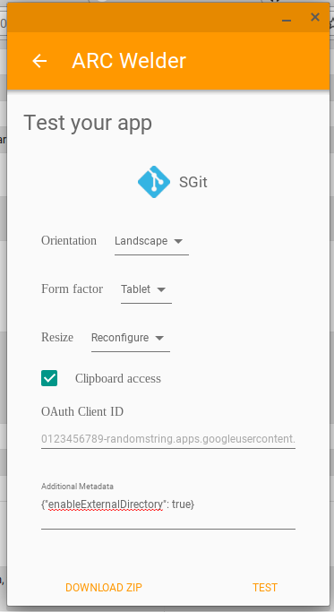 A screenshot of the ARC Welder app with the settings filled in to make the SGit app work on a Chromebook
