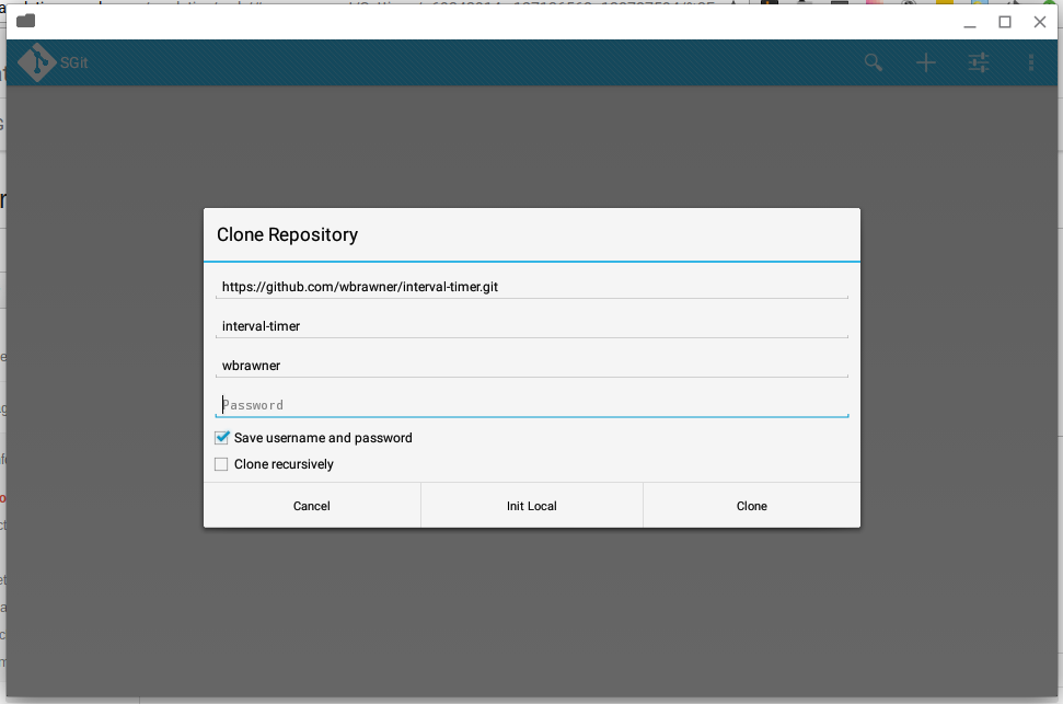 A screenshot of me demonstrating the ability of SGit to clone a git repo on a Chrome OS device