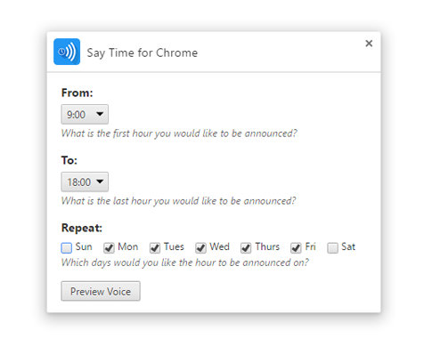 Say Time for Chrome configuration in the extensions menu for Chrome